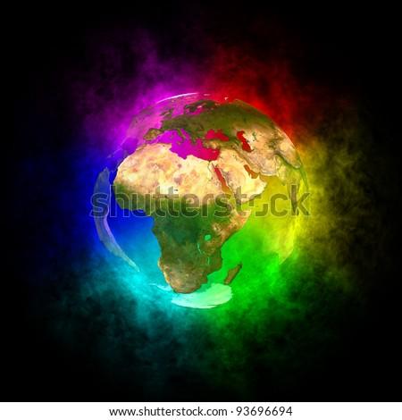 Rainbow planet Earth -  Europe - stock photo
