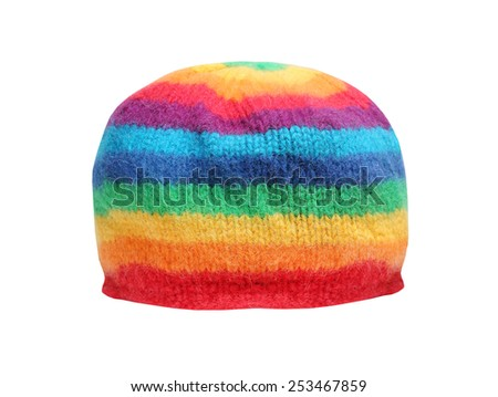 Rainbow rasta cap isolated on a white background. Homemade knitted product. - stock photo