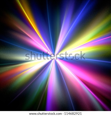 Rainbow rays on black background. Abstract background. - stock photo