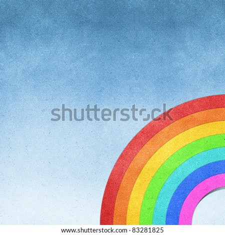 rainbow recycled paper craft background - stock photo