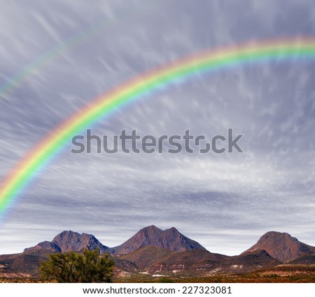Rainbow Red Rock country mountains in south east Arizona - stock photo