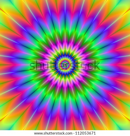 Rainbow Rosette/Digital abstract image with a circular rosette design in green, yellow, pink, blue, and red.