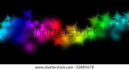 rainbow sparkles on a solid black background