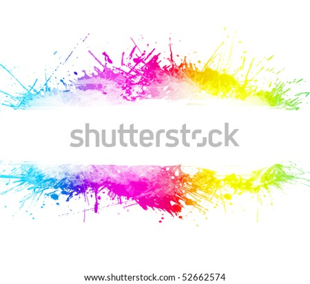 Rainbow splatter background with beautiful ink overlays and party concept. Empty stripe in the middle for custom text. - stock photo