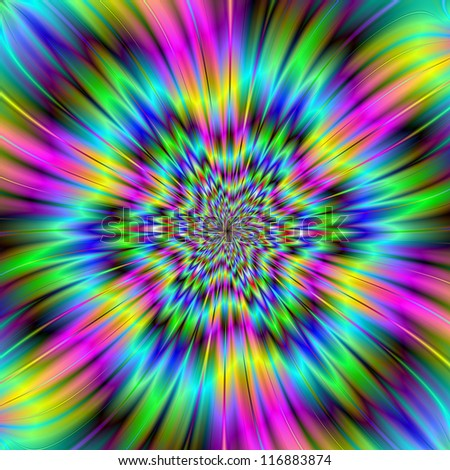 Rainbow Star/Digital abstract image with an exploding star design in blue, green, pink, yellow and turquoise.