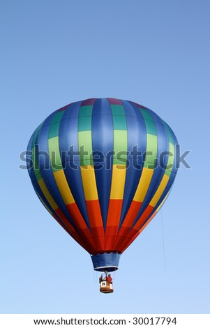 Rainbow Striped Hot Air Balloon - stock photo