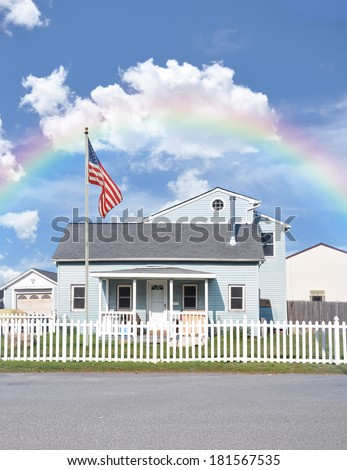 Rainbow Suburban Home White Picket Fence American Flag residential neighborhood usa blue sky clouds - stock photo