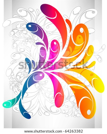 Rainbow swirly background Raster version - stock photo