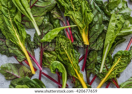 Rainbow swiss chard, clean eating, flat lay from above view - stock photo