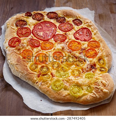 rainbow tomato pizza colorful food for kids - stock photo