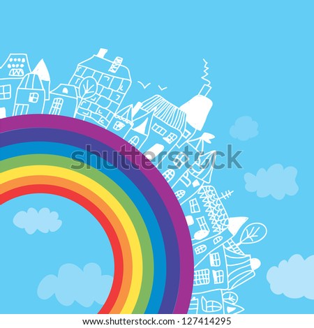 Rainbow town funny background for children - stock photo