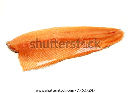 Rainbow trout fillet on a white background - stock photo