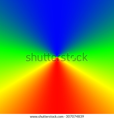 Rainbow vivid rays in cube, colorful template - stock photo