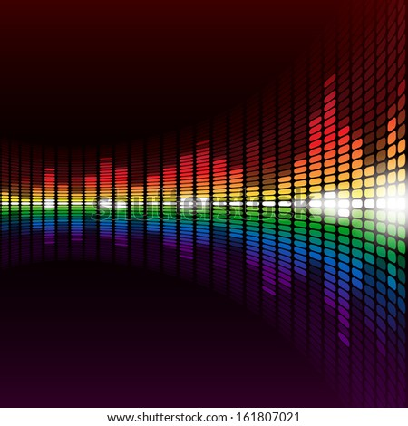 Rainbow warped digital equalizer background with flares