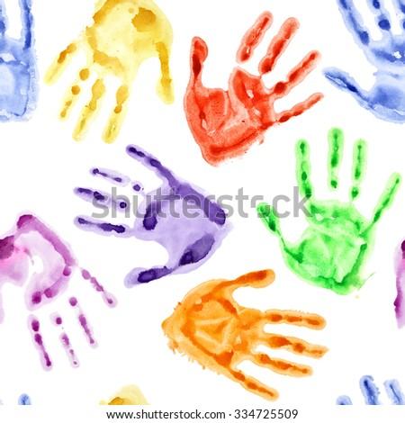 Rainbow watercolor hand prints - seamless background - stock photo