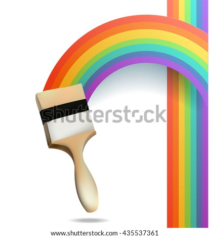 Rainbow with brush. Abstract Colorful background.  - stock photo