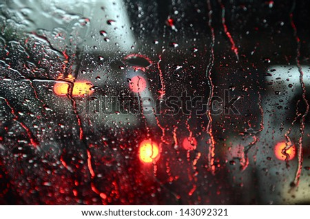 Raindrop on Windshield - stock photo