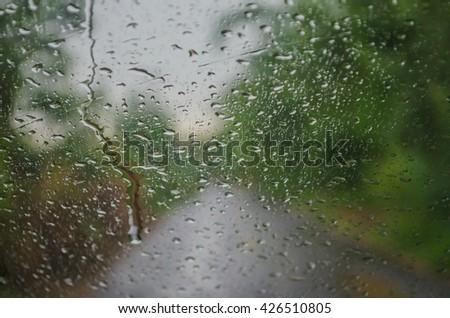 Raindrops car - stock photo