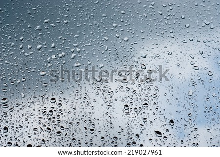 Raindrops on window, sky as a background