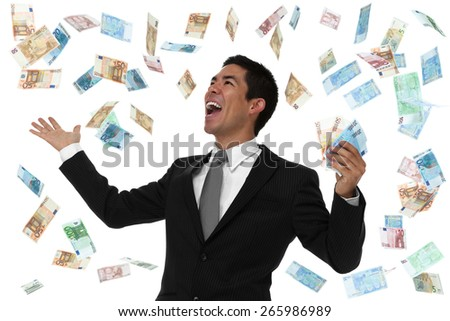 Raining euro on an excited businessman concept - stock photo