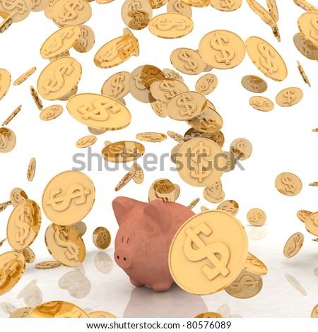 raining gold coins and piggi - stock photo