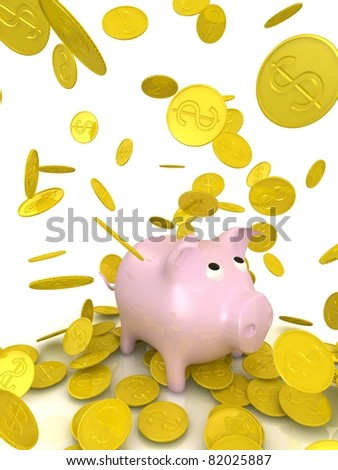 raining gold coins and piggy bank - stock photo