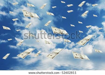 Raining money from the blue sky! - stock photo