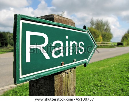 RAINS road sign