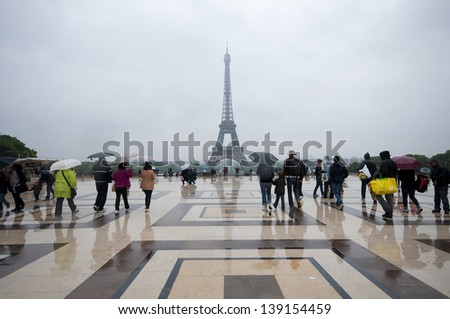 Rainy afternoon in Paris - stock photo