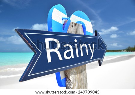 RAINY beach sign - stock photo