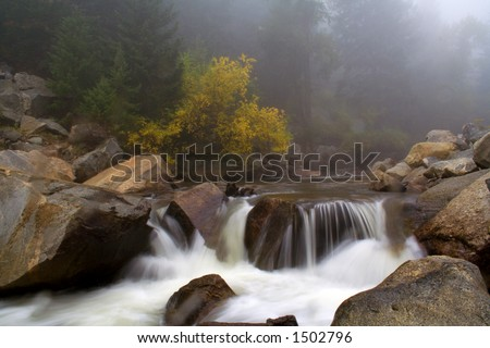 Rainy day on Boulder Creek. Boulder Creek Colorado. - stock photo