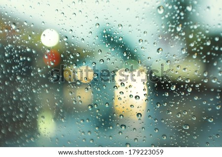 Rainy day street view  - stock photo