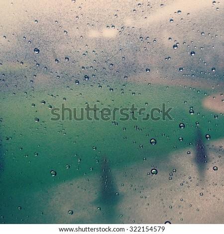 rainy drop on window - stock photo