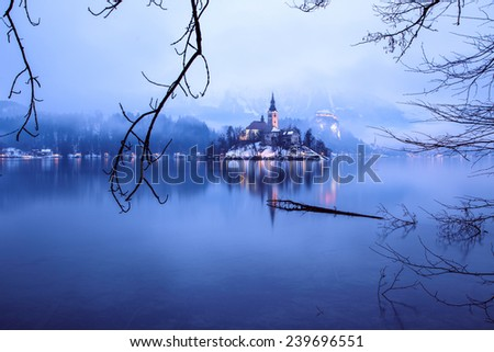 rainy of day at the  lake Bled  in winter, Slovenia, Europe - stock photo