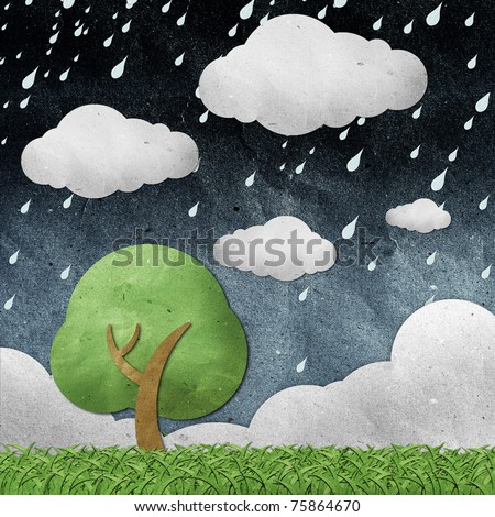 rainy  view recycled paper craft  stick on white background - stock photo