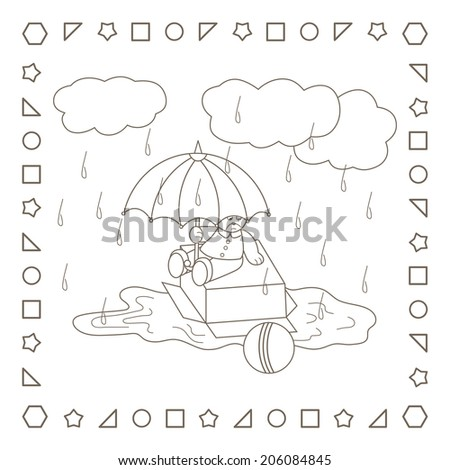 Rainy weather. Teddy bear with umbrella. Coloring page. Coloring book. - stock photo