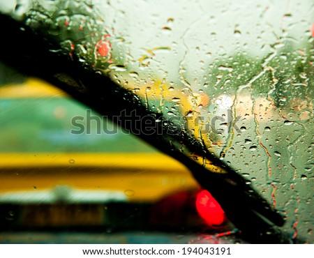 rainy window in blocked traffic - stock photo