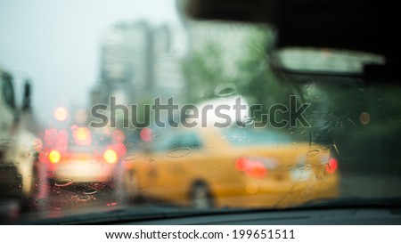 Rainy Windshield - stock photo