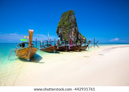 Rairay beach, Krabi Thailand - stock photo
