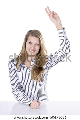 Raise up hand - student - stock photo