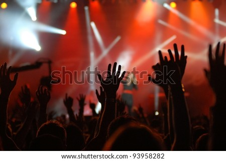 raised hands - stock photo