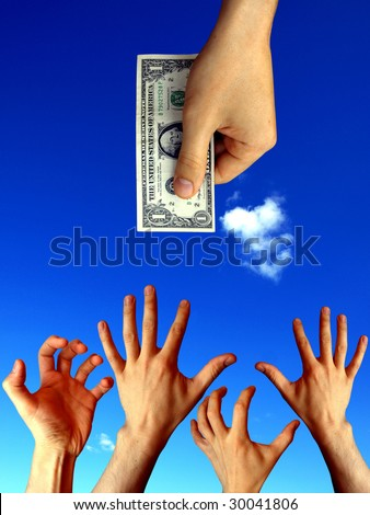raised hands trying to reach one dollar - stock photo