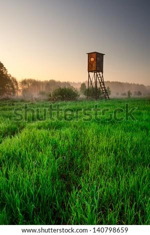 raised hide on morning foggy meadow. landscape - stock photo