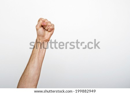 Raised man fist - stock photo