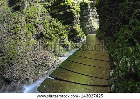 Raised path leading to Kozjak gorge waterfall near Kobarid, Slovenija - stock photo