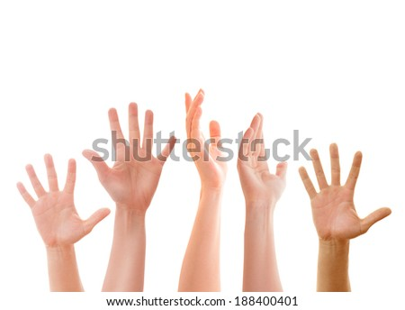Raised up hands of many people isolated