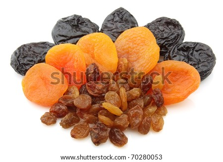 Raisin, dried apricots, prunes on a white background - stock photo