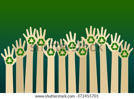 raising carton hands with a recycle symbol. eco friendly design template. raster - stock photo