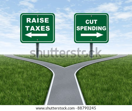 Raising taxes or cutting spending dilemma for government political choice as a symbol or metaphor of a cross roads with grass and sky as a difficult election policy as challenging economic issues. - stock photo
