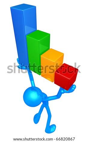 Raising The Bar Graph - stock photo
